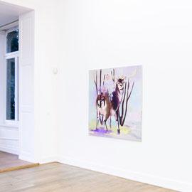 Scharmützel, Öl auf Leinwand, 140 x 140 cm, 2015