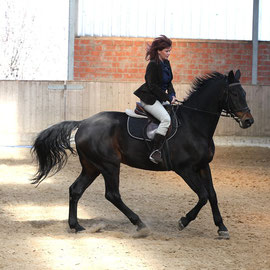 Reiterin Anja Rudowski mit Donatello, Frühjahr 2011.