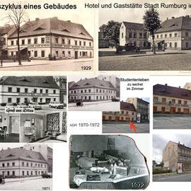 Collage Lebenszyklus eines Gebäudes - Zittau Hotel und Gaststätte Stadt Rumburg