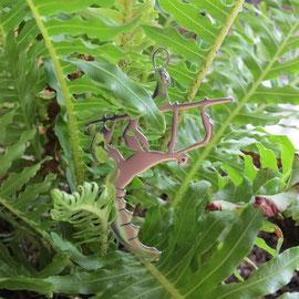 Haar Peewee, een extatosoma tiaratum (wandelende tak) vereeuwigd in zilver
