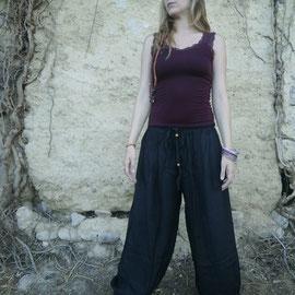 Pantalon bouffant noir en rayonne