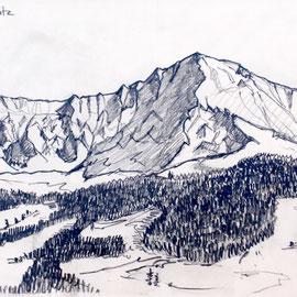 Adelboden - Skizze Bunderspitz 40 x 30 cm