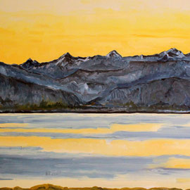 Thunersee am Morgen Öl auf Leinwand 100 x 80 cm. Pleinairmalerei