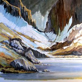 Bergsee in den Rocky Mountains 80 x 80 Öl auf Leinwand