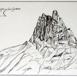 Adelboden - Skizze Tschingellochtighorn 40 x 30 cm (verkauft)