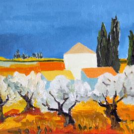 Spanien 2019 am Meer Olivenbäume Öl auf Leinwand 30 x 25