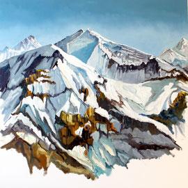 Adelboden - Aussicht vom Albristhorn 80 x 80 cm Öl auf Leinwand (verkauft)