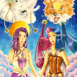 Schwestern im Geiste - Originalcharaktere von Tiefenwasser (links) und mir (rechts)