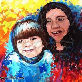 """""""Eden y Kendra"""" (Vendida-Sold) Yair Medina, acrílico sobre lienzo, 70x70 cm aprox., 2014."""