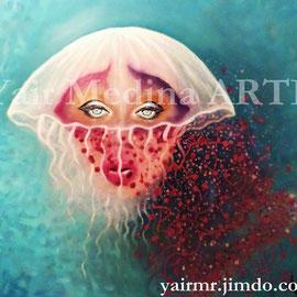 Sin título. Yair Medina, técnica mixta sobre lienzo, 100x100 cm, 2015.