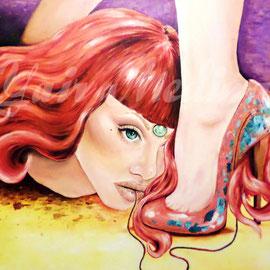 """""""Transfusión fetichista"""" Yair Medina, acrílico sobre madera, 100x100 cm, 2015."""
