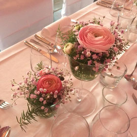 Tischdekoration rosa