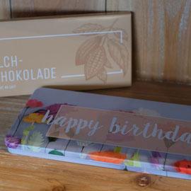 Milchschokolade Munz 100g in Geschenkbox happy Birthday Fr. 12.90