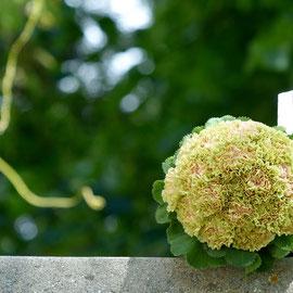 Brautstrauss mit Nelken in grün/rosa