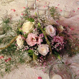 Tischgesteck rosa