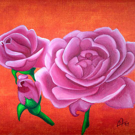 Ma première huile les roses de la maison (collection privée) - © B. Dupuis