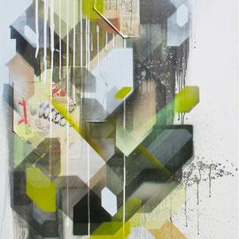 """Vitals"" 80x120 cm - spraypaint, acrylics, paper on canvas- 2014 - SOLD"