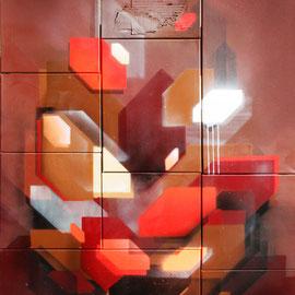 """Okay Club"" - ca. 130x150 cm - spraypaint, acrylics, cardboard on canvas/wood - 2015 - SOLD"