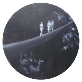 Die Wanderer I, 2012 - acrilico su tela, diam. 120 cm