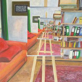 Atelier der Künstlerin, Acryl auf Leinwand