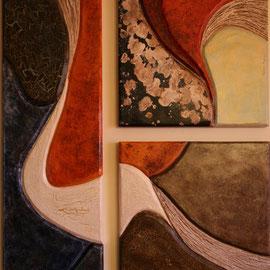 trittico in cartapesta e legno
