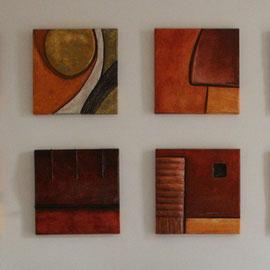 quadri in cartapesta e stucco su legno
