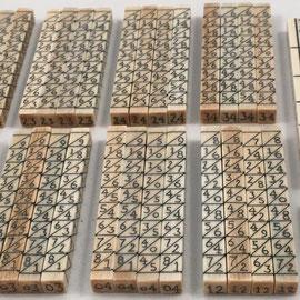 Detalle del ábaco multiplicativo de NAPIER, compuesto de 42 varillas, con indicador de las 4 caras de cada varilla cuadrangular