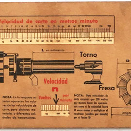 VAGMA regla de cálculo para mecanización, Indauchu (Bilbao), año 1960, 25x10 cm