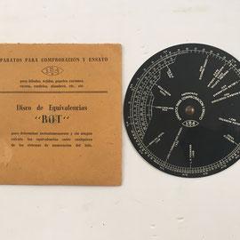 Disco técnico de equivalencias BOT, aparato de comprobación y ensayo fabricado por J.B.A., 11 cm diámetro