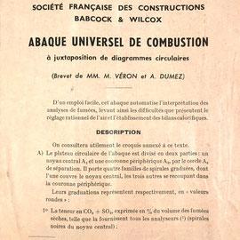 Folleto de instrucciones de uso para el Abaque de Combustion GRAPHOPLEX, M. Véron y A. Dumez, 14 páginas, editado en 1952