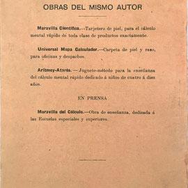 Reverso del librillo de instrucciones para el Mapa Universal Calculador con reseña de obras del mismo autor