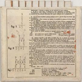 Esquema explicativo para el uso del Cuadro de Cálculo (ábaco multiplicativo de Napier) en el reverso de la base