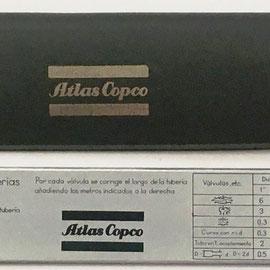 Reverso de la regla ATLAS COPCO para tuberías de aire comprimido