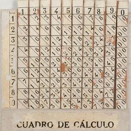 Cuadro de Cálculo (bastones de Napier), hecho por Eduardo de Atarés (Barcelona, España), año 1926, 10.5x11cm