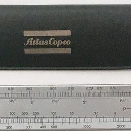 Regla técnica ATLAS COPCO para tuberías de aire comprimido, Barcelona, 16x3 cm