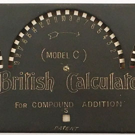Sumadora para moneda británica THE BRICAL modelo C, Money Calculating Machine, s/n C177, año 1909, 24x8 cm