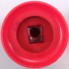 Vista inferior del sacapuntas para lapiceros. Hecho en España, patente nº 122568