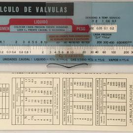 Regla de cálculo de válvulas MASONEILAN, año 1970, 21.5x6 cm