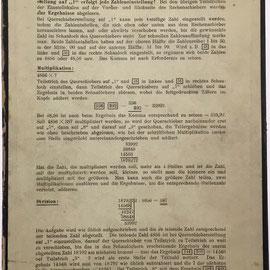 Anverso de la caja de cartón para albergar el PRODUX CALCULATOR con instrucciones de uso