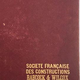 Inscripción en la tapa de la caja del Abaque de Combustion GRAPHOPLEX, para la Sociedad de Construcción Babcock & Wilcox
