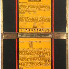 Anverso de PRODUX CALCULATOR, W. Meier, fabricado por Otto Meuter, instrucciones para multipicación y división, 18x33 cm