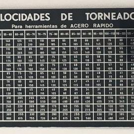 Regla técnica para velocidades de torneado ALFOR, hecha en Eibar, 30x8 cm