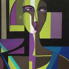 Femme Mystère.  38X46 cm Acrylique/toile