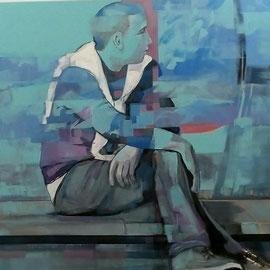 """""""Pause """" Acrylique /toile 80X80 cm"""