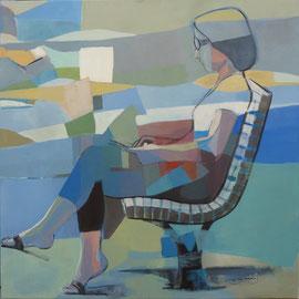 Femme assise banc jardin public 70 X 70 cm Acrylique/toile