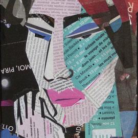 Portrait femme ( collage sur toile) 24X16 cm