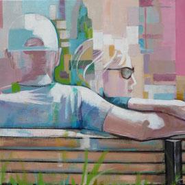Couple assis de dos dans un parc. 54X73 cm Acrylique/toile