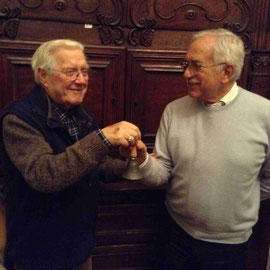 Il passaggio di consegne fra il presidente uscente Gigi Pistone e Pietro Masoero  nuovo entrante