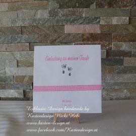 Kuvertgestaltung und Kartendruck im Wunschdesign und passend zu den Taufeinladungen