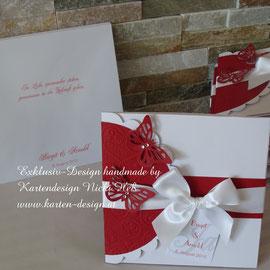 Kuvertgestaltung und Kuvertdruck mit Wunschdaten für die Hochzeitseinladungen